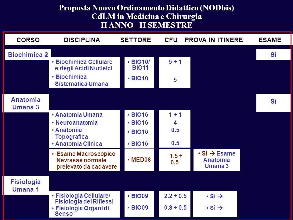 Proposta Nuovo Ordinamento Didattico (NODbis) CdLM in Medicina e Chirurgia II ANNO - II SEMESTRE Sì CORSODISCIPLINASETTORECFUPROVA IN ITINEREESAME Bio