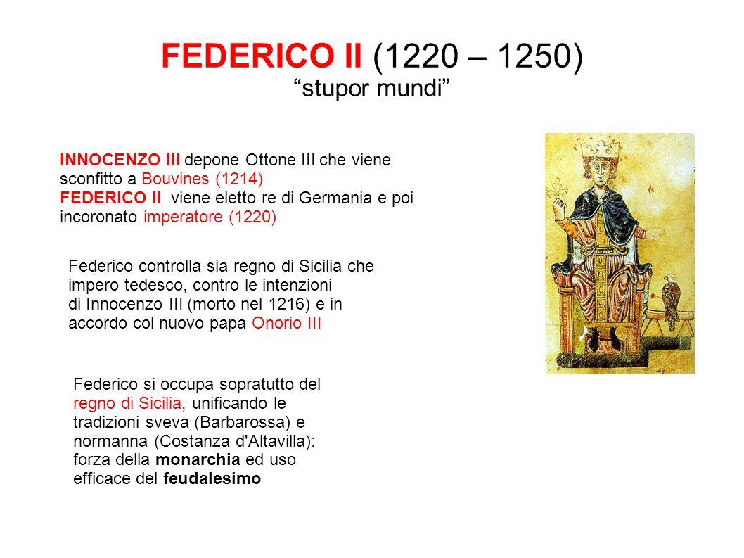 FEDERICO II (1220 – 1250) stupor mundi INNOCENZO III depone Ottone III che viene sconfitto a Bouvines (1214) FEDERICO II viene eletto re di Germania e