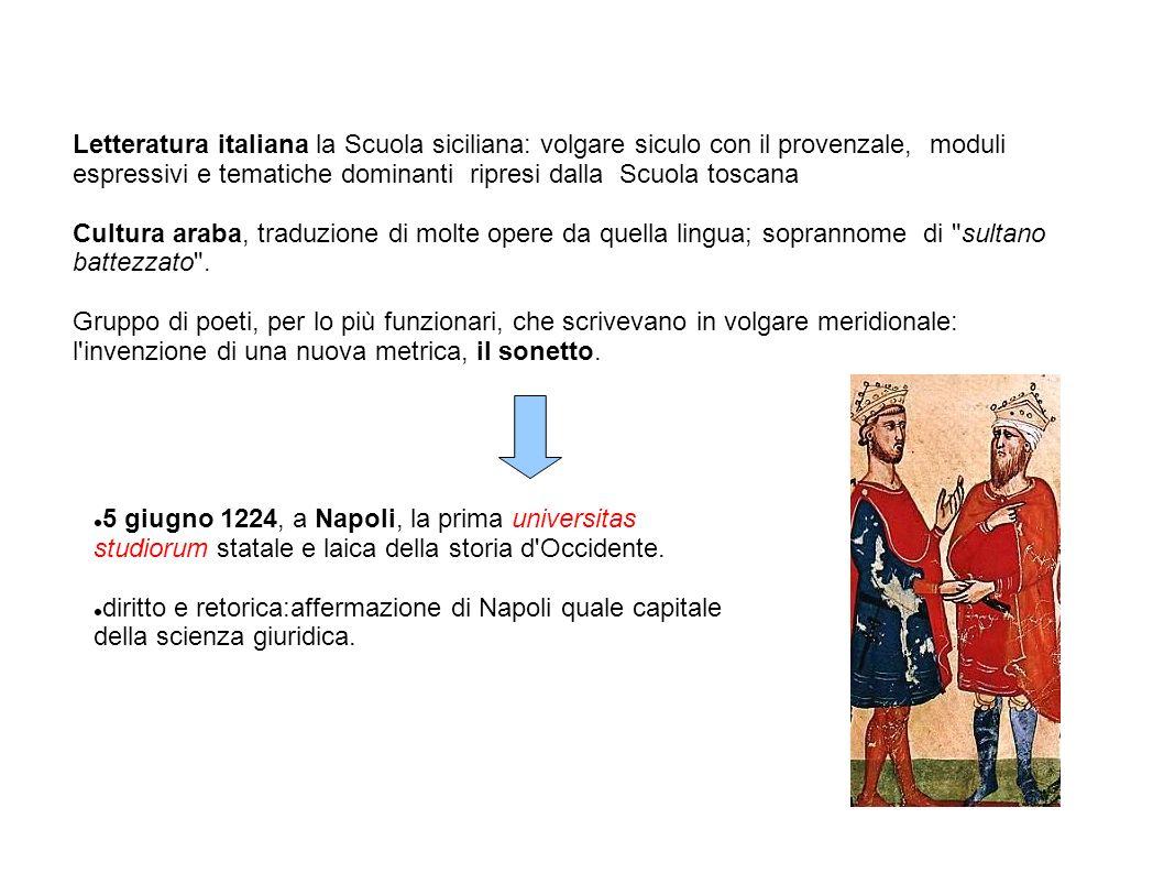 Letteratura italiana la Scuola siciliana: volgare siculo con il provenzale, moduli espressivi e tematiche dominanti ripresi dalla Scuola toscana Cultu