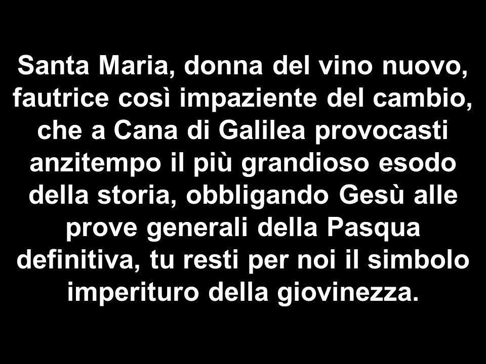 Matteo 3,1-12 Santa Maria, donna del vino nuovo, fautrice così impaziente del cambio, che a Cana di Galilea provocasti anzitempo il più grandioso esod