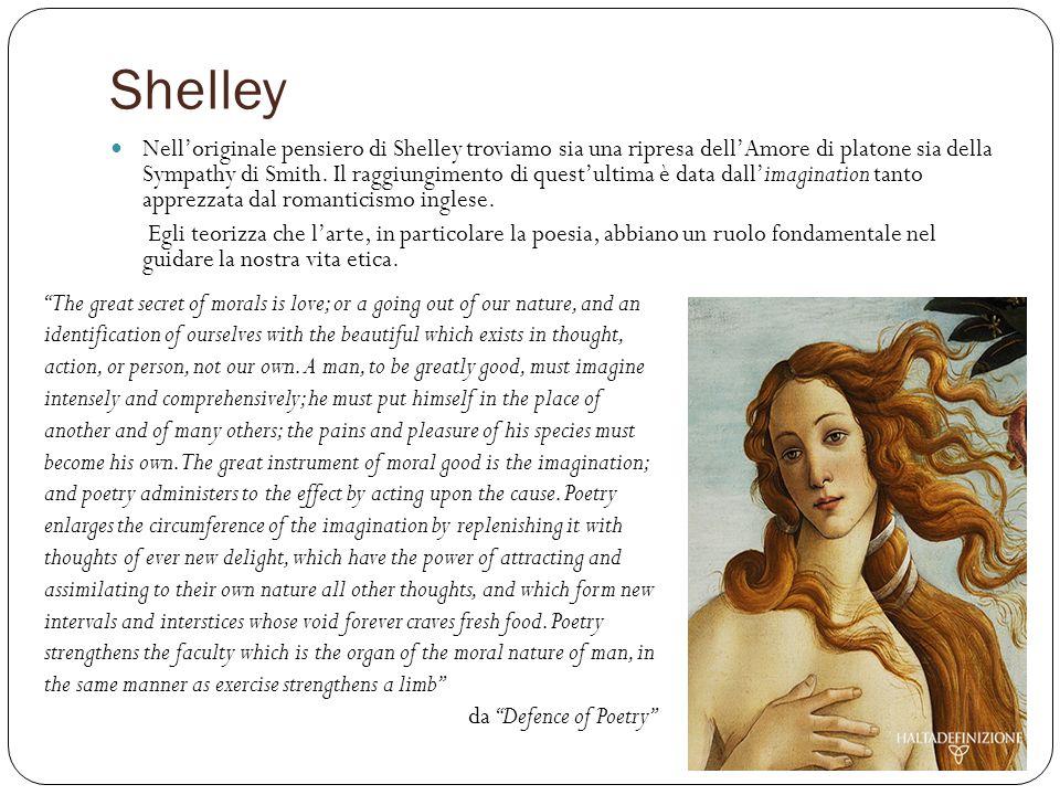Shelley Nelloriginale pensiero di Shelley troviamo sia una ripresa dellAmore di platone sia della Sympathy di Smith. Il raggiungimento di questultima