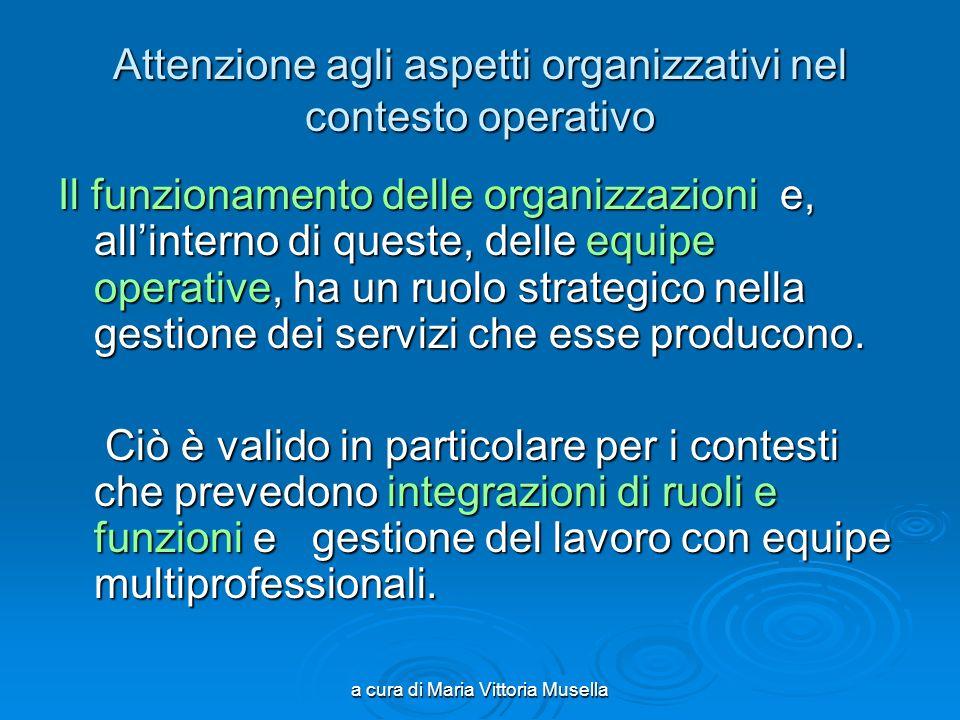 a cura di Maria Vittoria Musella Attenzione agli aspetti organizzativi nel contesto operativo Il funzionamento delle organizzazioni e, allinterno di queste, delle equipe operative, ha un ruolo strategico nella gestione dei servizi che esse producono.