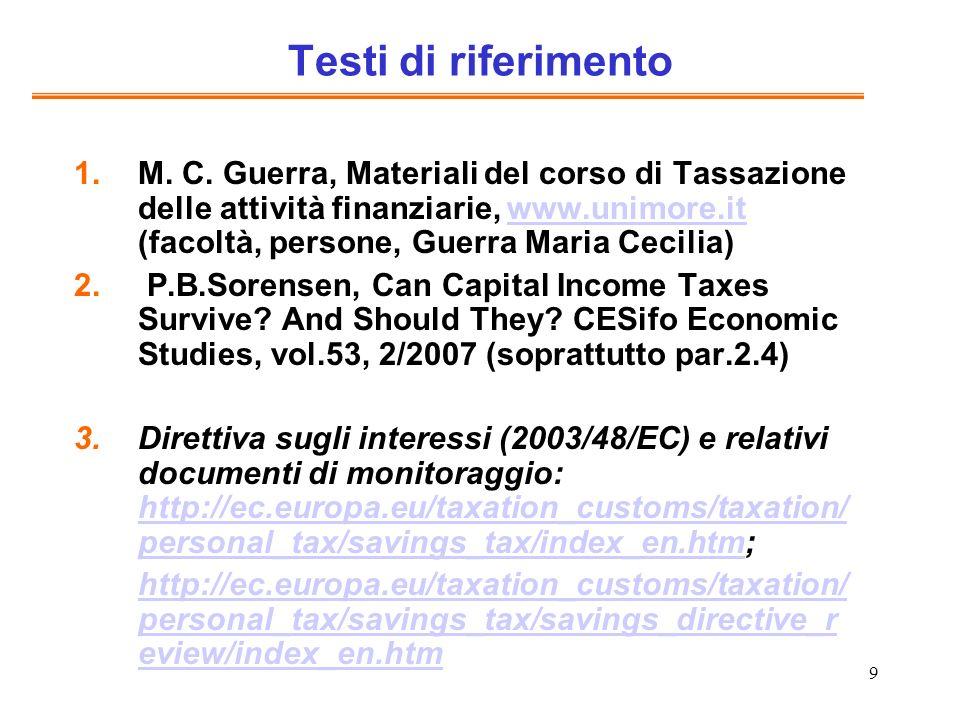 10 Altre letture Ente Einaudi, Fisco e finanza in Italia e in Europa, Bancaria editrice, 2004 J.
