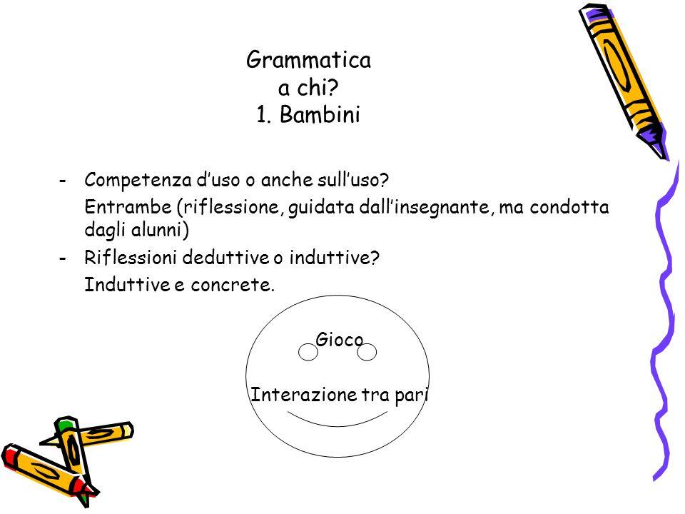 Grammatica a chi? 1. Bambini -Competenza duso o anche sulluso? Entrambe (riflessione, guidata dallinsegnante, ma condotta dagli alunni) -Riflessioni d
