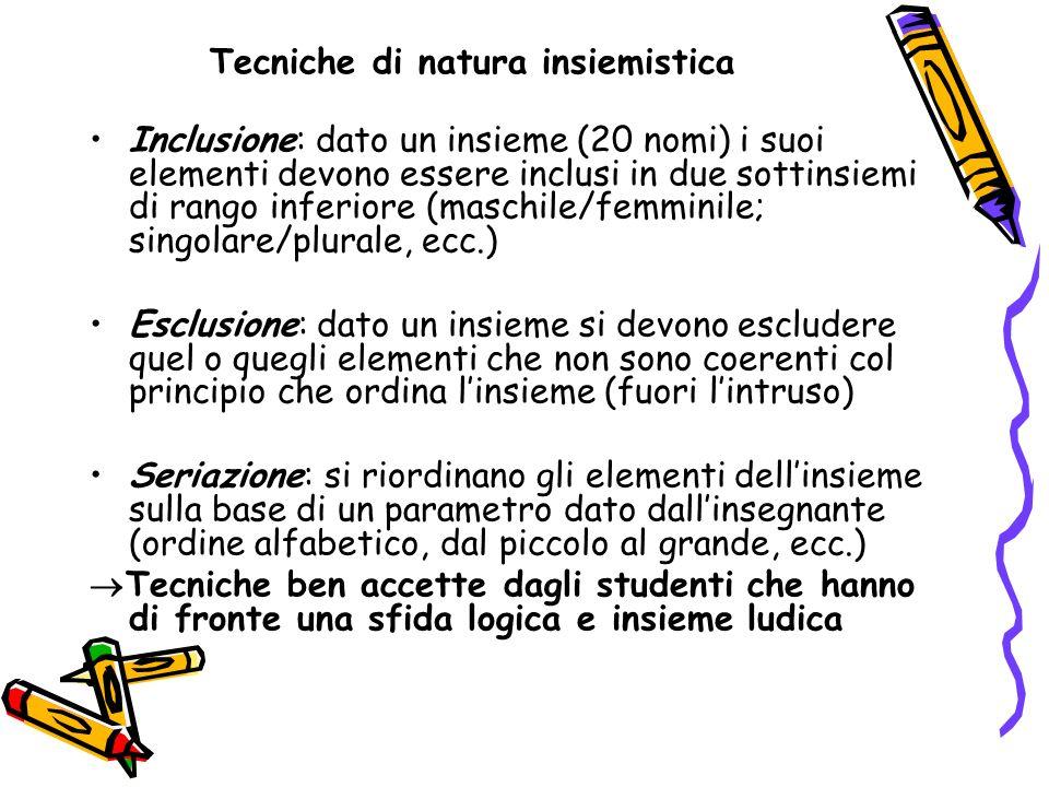Tecniche di natura insiemistica Inclusione: dato un insieme (20 nomi) i suoi elementi devono essere inclusi in due sottinsiemi di rango inferiore (mas