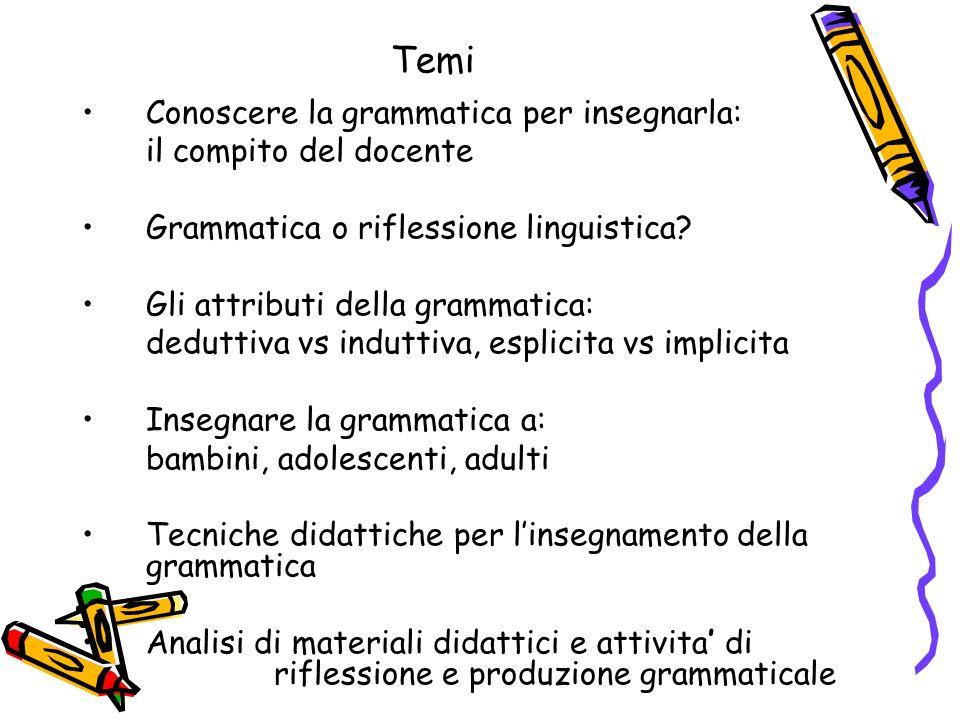 Temi Conoscere la grammatica per insegnarla: il compito del docente Grammatica o riflessione linguistica? Gli attributi della grammatica: deduttiva vs