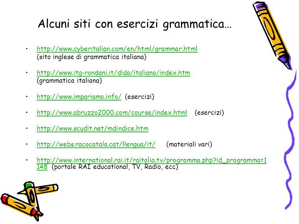 Alcuni siti con esercizi grammatica… http://www.cyberitalian.com/en/html/grammar.html (sito inglese di grammatica italiana) http://www.itg-rondani.it/