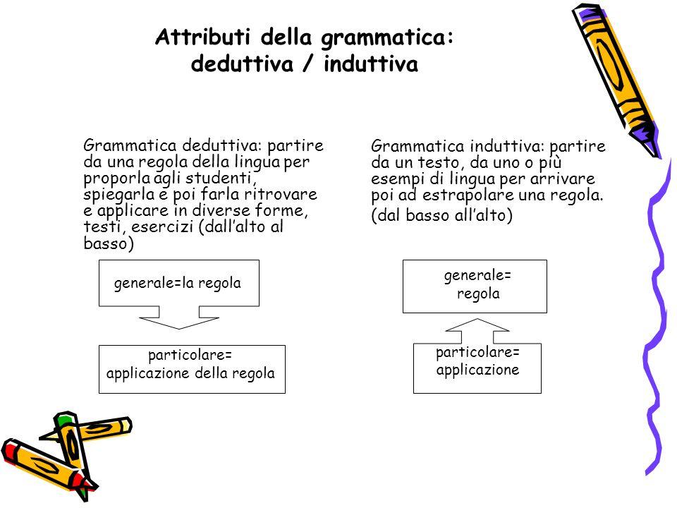 Attributi della grammatica: deduttiva / induttiva Grammatica deduttiva: partire da una regola della lingua per proporla agli studenti, spiegarla e poi