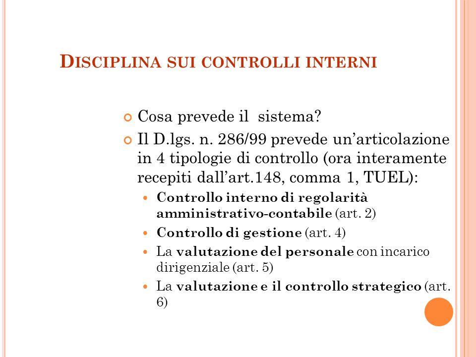 2 D ISCIPLINA SUI CONTROLLI INTERNI Cosa prevede il sistema.
