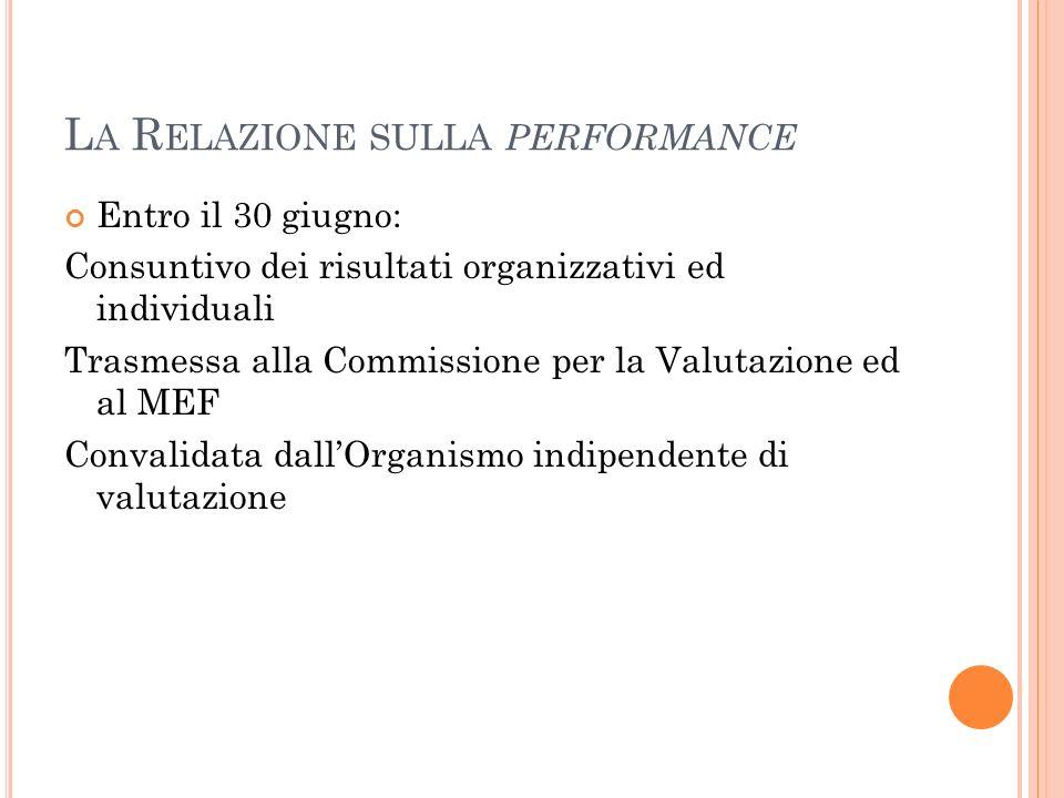 L A R ELAZIONE SULLA PERFORMANCE Entro il 30 giugno: Consuntivo dei risultati organizzativi ed individuali Trasmessa alla Commissione per la Valutazione ed al MEF Convalidata dallOrganismo indipendente di valutazione