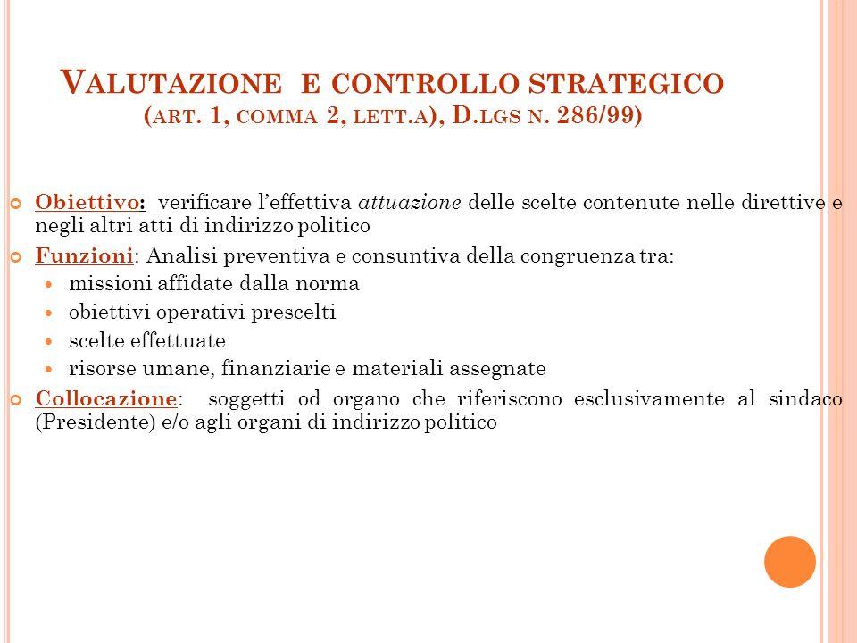 5 V ALUTAZIONE E CONTROLLO STRATEGICO ( ART.1, COMMA 2, LETT.