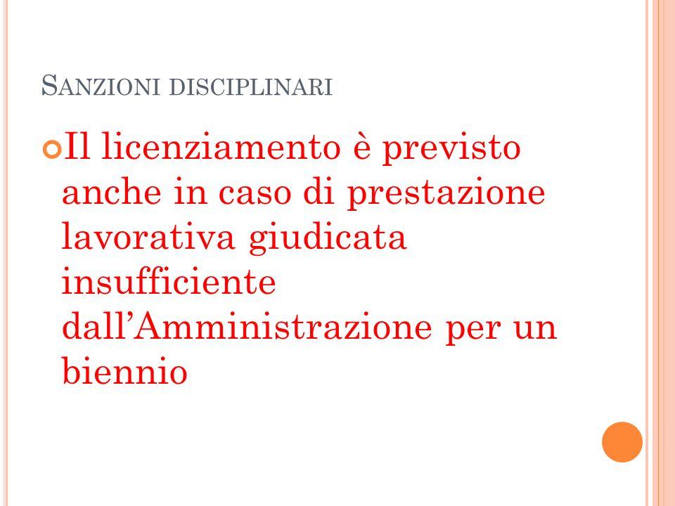 S ANZIONI DISCIPLINARI Il licenziamento è previsto anche in caso di prestazione lavorativa giudicata insufficiente dallAmministrazione per un biennio