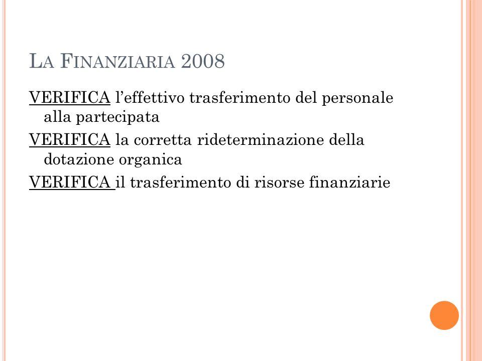 L A F INANZIARIA 2008 VERIFICA leffettivo trasferimento del personale alla partecipata VERIFICA la corretta rideterminazione della dotazione organica VERIFICA il trasferimento di risorse finanziarie