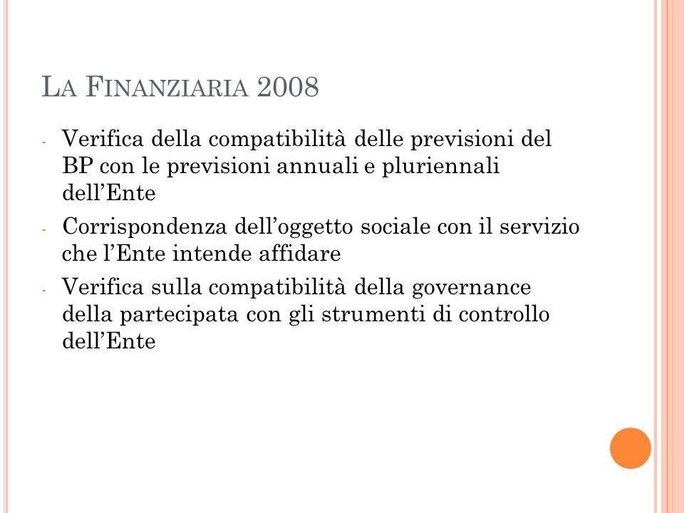 L A F INANZIARIA 2008 - Verifica della compatibilità delle previsioni del BP con le previsioni annuali e pluriennali dellEnte - Corrispondenza delloggetto sociale con il servizio che lEnte intende affidare - Verifica sulla compatibilità della governance della partecipata con gli strumenti di controllo dellEnte