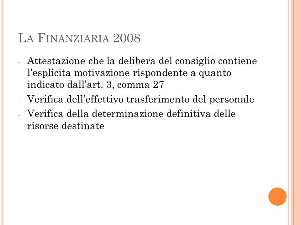 L A F INANZIARIA 2008 - Attestazione che la delibera del consiglio contiene lesplicita motivazione rispondente a quanto indicato dallart.