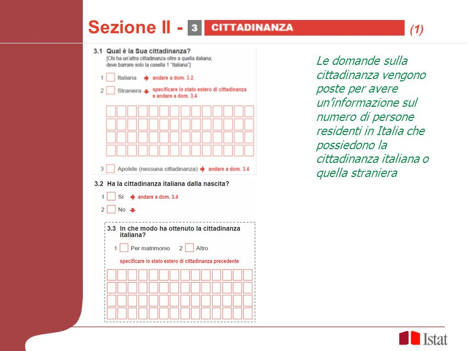 Sezione II - (1) Le domande sulla cittadinanza vengono poste per avere uninformazione sul numero di persone residenti in Italia che possiedono la cittadinanza italiana o quella straniera
