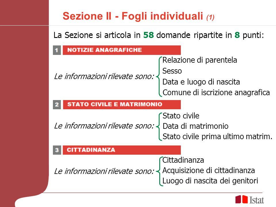 Sezione II - Fogli individuali (1) La Sezione si articola in 58 domande ripartite in 8 punti: Le informazioni rilevate sono: Relazione di parentela Sesso Data e luogo di nascita Le informazioni rilevate sono: Stato civile Data di matrimonio Stato civile prima ultimo matrim.