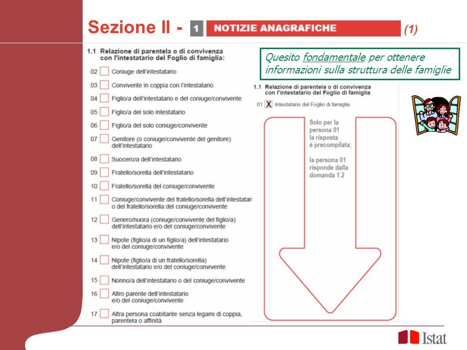 Quesito fondamentale per ottenere informazioni sulla struttura delle famiglie Sezione II - (1)
