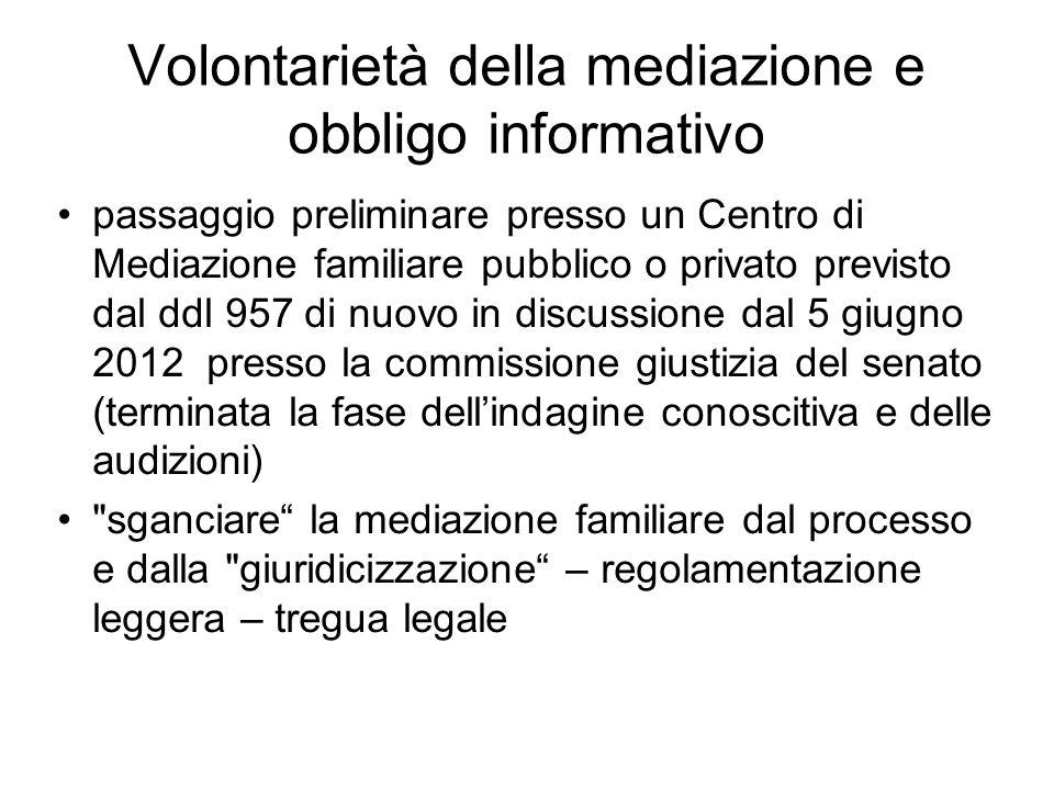Volontarietà della mediazione e obbligo informativo passaggio preliminare presso un Centro di Mediazione familiare pubblico o privato previsto dal ddl