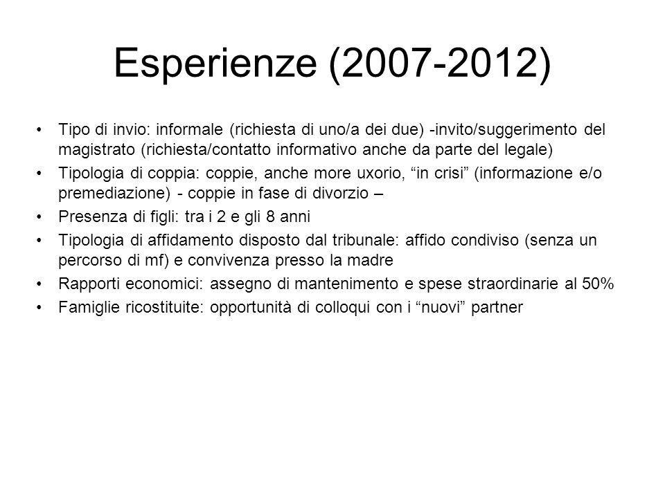 Esperienze (2007-2012) Tipo di invio: informale (richiesta di uno/a dei due) -invito/suggerimento del magistrato (richiesta/contatto informativo anche