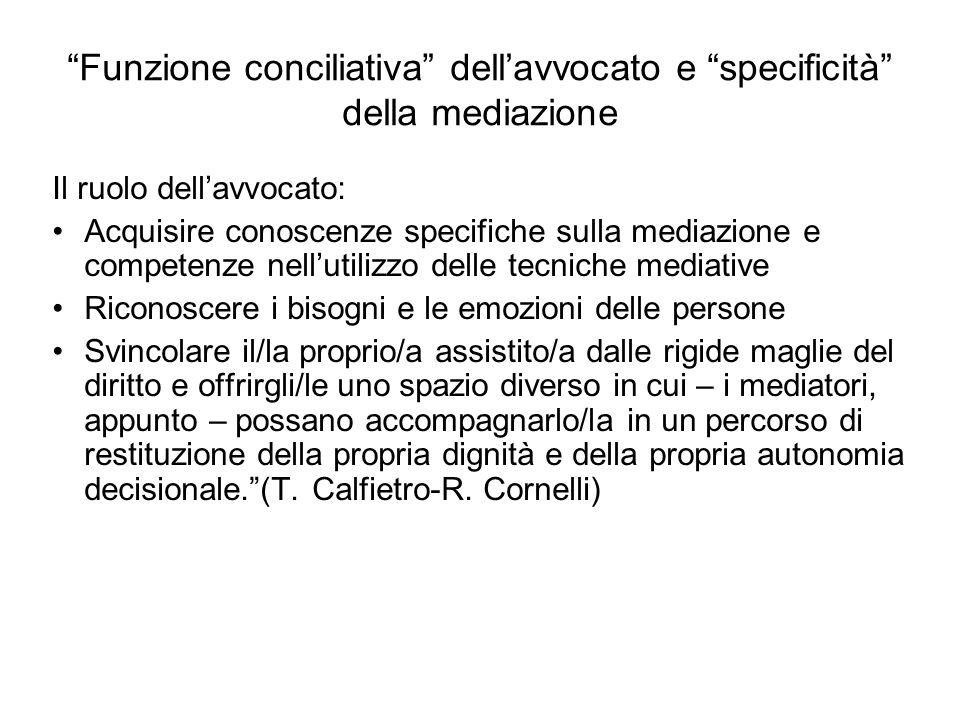 Funzione conciliativa dellavvocato e specificità della mediazione Il ruolo dellavvocato: Acquisire conoscenze specifiche sulla mediazione e competenze