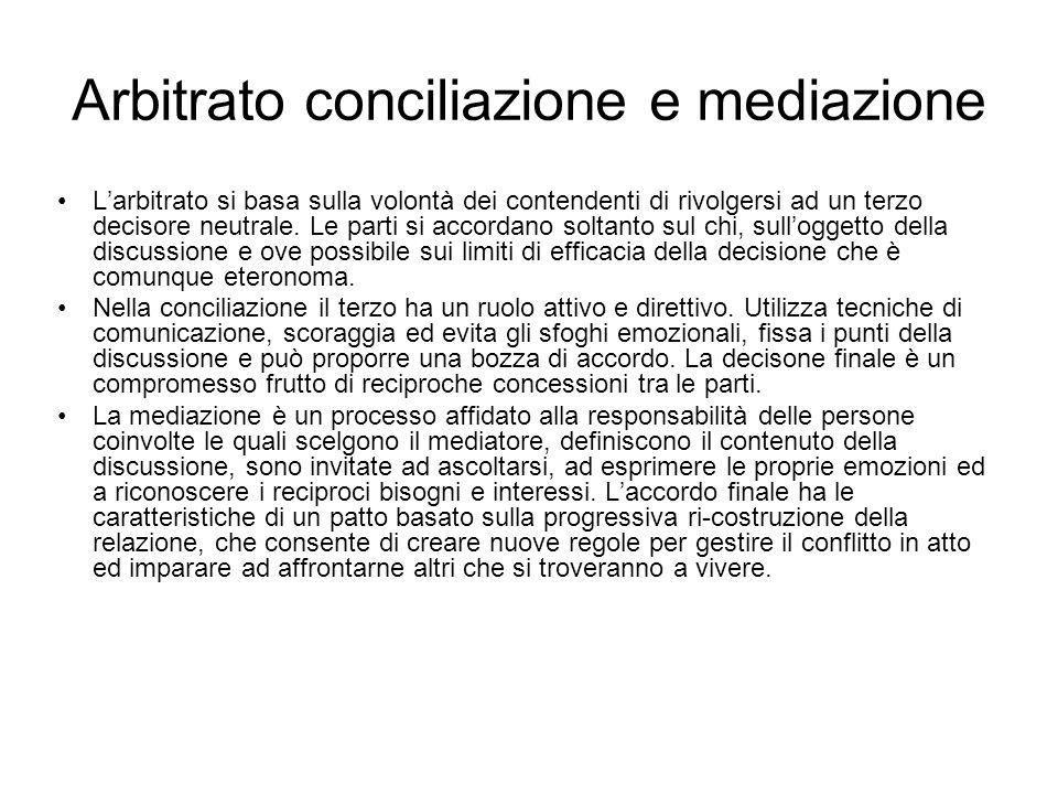 Arbitrato conciliazione e mediazione Larbitrato si basa sulla volontà dei contendenti di rivolgersi ad un terzo decisore neutrale. Le parti si accorda
