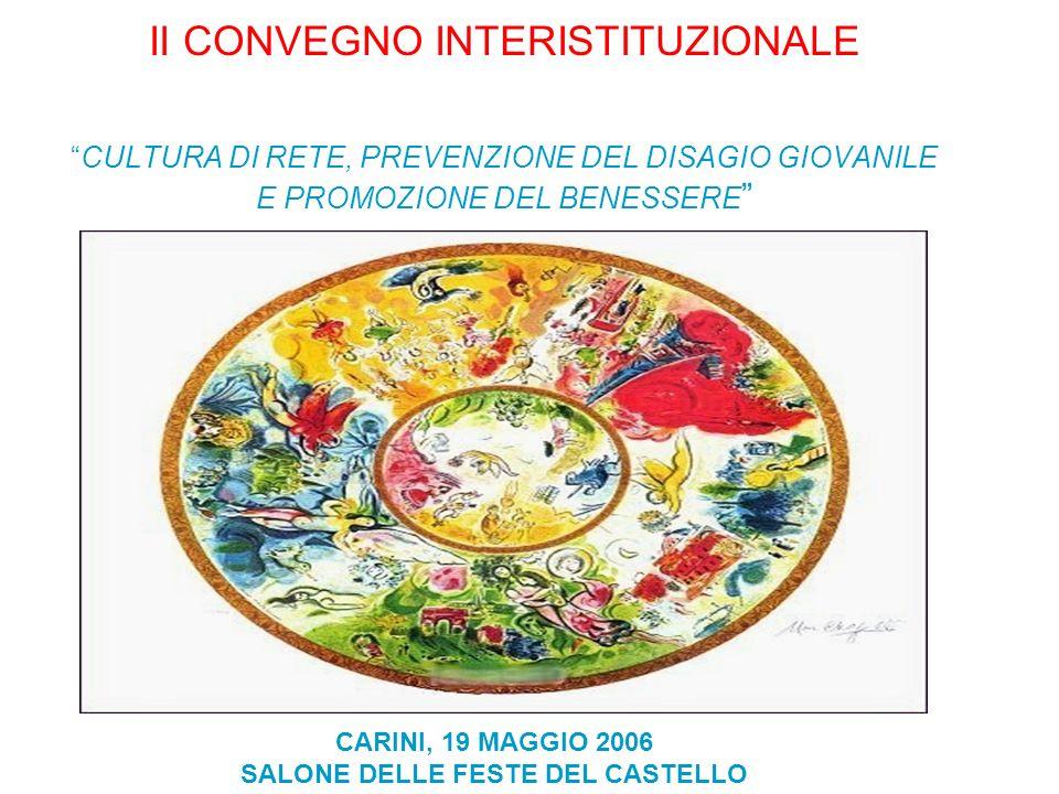 II CONVEGNO INTERISTITUZIONALECULTURA DI RETE, PREVENZIONE DEL DISAGIO GIOVANILE E PROMOZIONE DEL BENESSERE CARINI, 19 MAGGIO 2006 SALONE DELLE FESTE