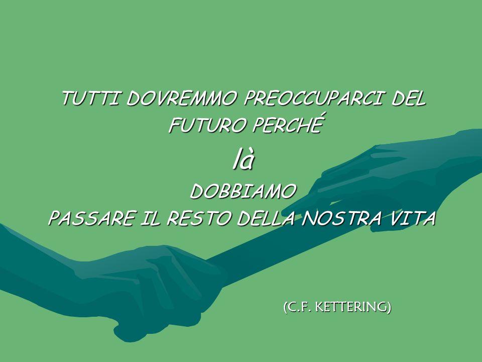 TUTTI DOVREMMO PREOCCUPARCI DEL FUTURO PERCHÉ FUTURO PERCHÉlàDOBBIAMO PASSARE IL RESTO DELLA NOSTRA VITA (C.F. KETTERING)