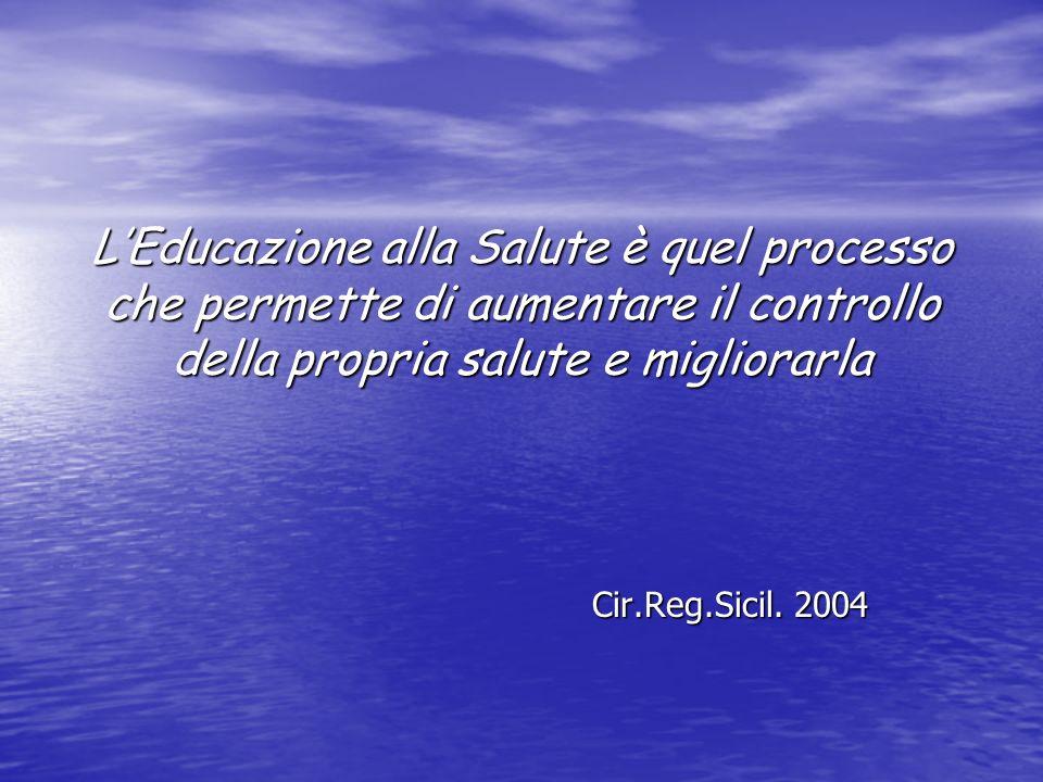 LEducazione alla Salute è quel processo che permette di aumentare il controllo della propria salute e migliorarla Cir.Reg.Sicil. 2004