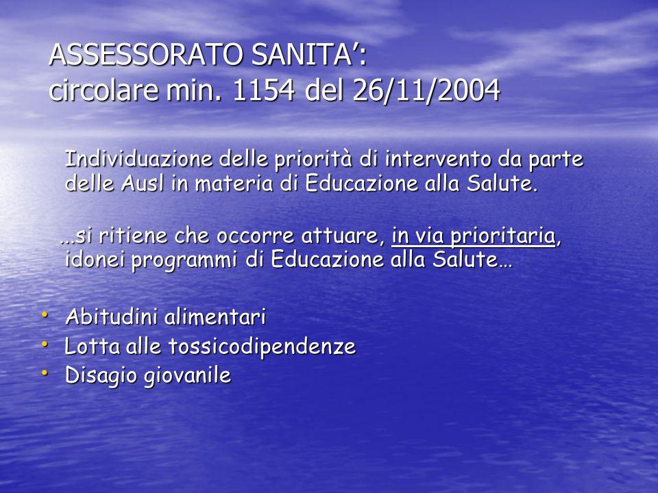 ASSESSORATO SANITA: circolare min. 1154 del 26/11/2004 ASSESSORATO SANITA: circolare min. 1154 del 26/11/2004 Individuazione delle priorità di interve
