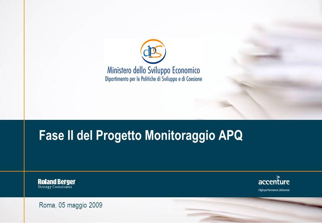 1MIL-1642-90000-019-209-02 Roma, 05 maggio 2009 Fase II del Progetto Monitoraggio APQ