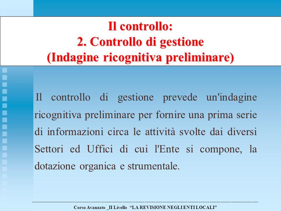 Il controllo di gestione prevede un'indagine ricognitiva preliminare per fornire una prima serie di informazioni circa le attività svolte dai diversi