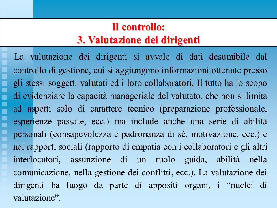 Il controllo: 3. Valutazione dei dirigenti La valutazione dei dirigenti si avvale di dati desumibile dal controllo di gestione, cui si aggiungono info