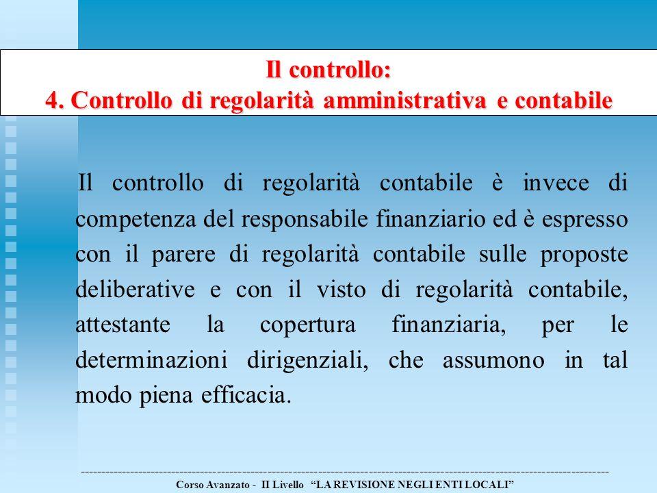 Il controllo: 4. Controllo di regolarità amministrativa e contabile ----------------------------------------------------------------------------------