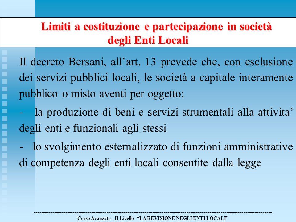 Limiti a costituzione e partecipazione in società Limiti a costituzione e partecipazione in società degli Enti Locali --------------------------------