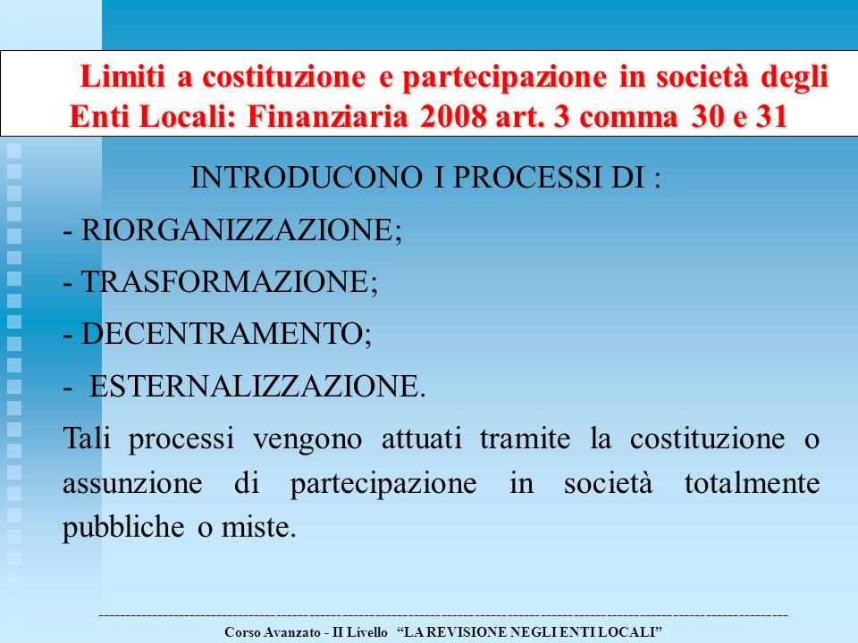Limiti a costituzione e partecipazione in società degli Enti Locali: Finanziaria 2008 art. 3 comma 30 e 31 Limiti a costituzione e partecipazione in s