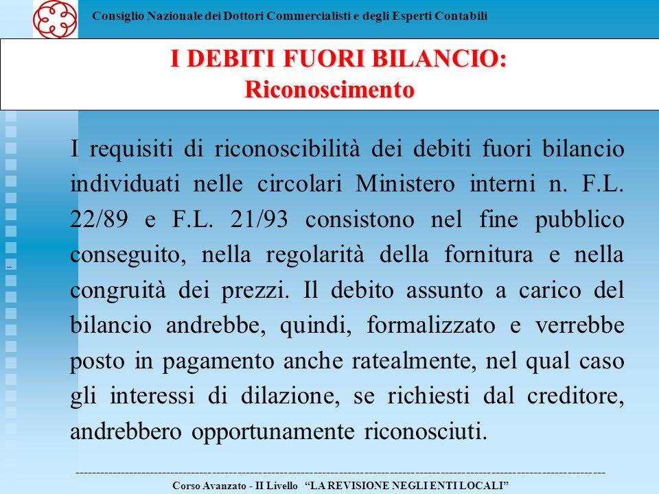 Consiglio Nazionale dei Dottori Commercialisti e degli Esperti Contabili I requisiti di riconoscibilità dei debiti fuori bilancio individuati nelle ci