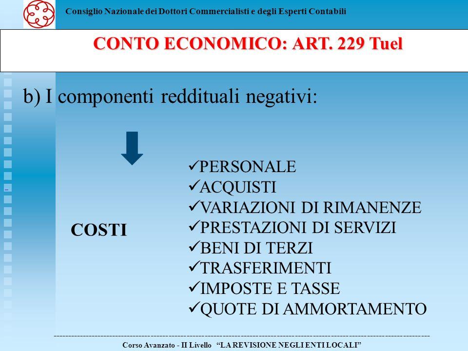 Consiglio Nazionale dei Dottori Commercialisti e degli Esperti Contabili CONTO ECONOMICO: ART. 229 Tuel CONTO ECONOMICO: ART. 229 Tuel ---------------