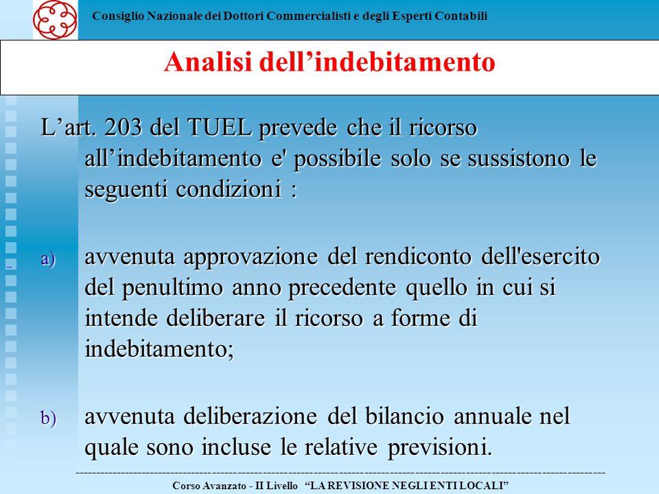 Consiglio Nazionale dei Dottori Commercialisti e degli Esperti Contabili Lart. 203 del TUEL prevede che il ricorso allindebitamento e' possibile solo
