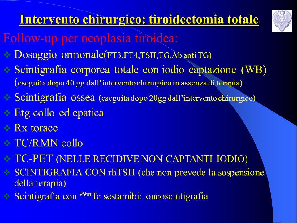 omolaterale alla neoplasia radioiodio Captazione cervicale <2% controlaterale alla neoplasia WB a 6 mesi Captazione cervicale > 2% radioiodio Captazione cervicale >10% reintervento ablativo Indicazioni alla terapia con radioiodio