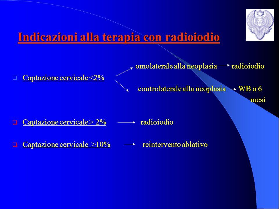 Terapia con radioiodio IL TRATTAMENTO ABLATIVO CON RADIOIODIO PERMETTE LA DISTRUZIONE DI METASTASI CAPTANTI E/O DEL TESSUTO TIROIDEO SANO RESIDUO DOPO TIROIDECTOMIA NELLAMBITO DI QUESTO TRATTAMNETO BISOGNA DISTINGUERE DUE CATEGORIE DI PAZIENTI (salvo alcune eccezioni!!) -A BASSO RISCHIO :soggetti con ca.