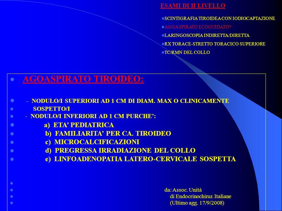 FNA CITOLOGY CLASSIFICATION (BTA 2002) DIAGNOSTIC CATEGORIES: Thy1: non diagnostic Thy2: non neoplastic Thy3: all follicular lesions Thy4: abnormal, suspicious of malignancy Thy5: diagnostic of malignancy