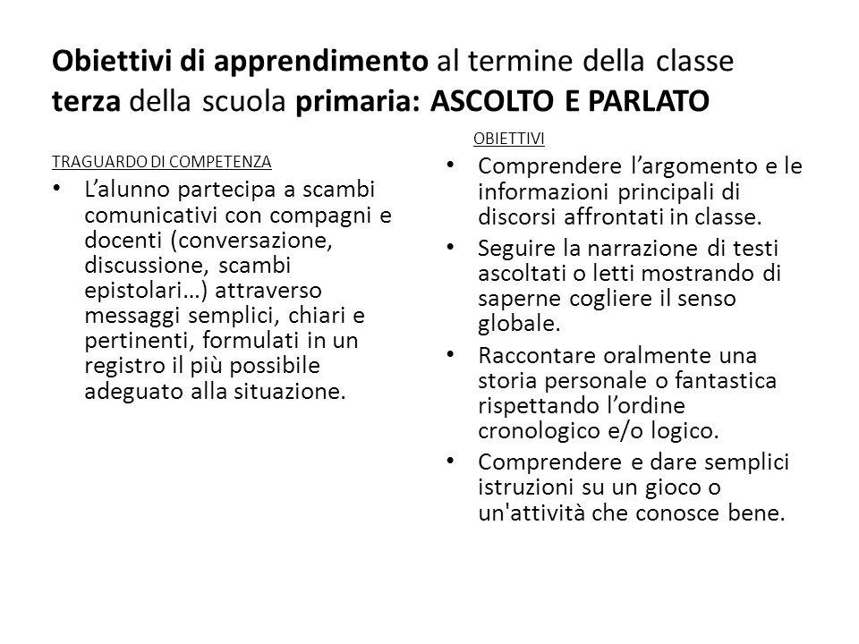 Obiettivi di apprendimento al termine della classe terza della scuola primaria: ASCOLTO E PARLATO TRAGUARDO DI COMPETENZA Lalunno partecipa a scambi c
