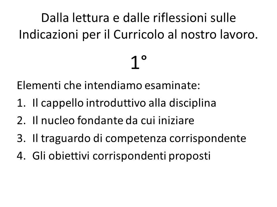 Dalla lettura e dalle riflessioni sulle Indicazioni per il Curricolo al nostro lavoro. 1° Elementi che intendiamo esaminate: 1.Il cappello introduttiv