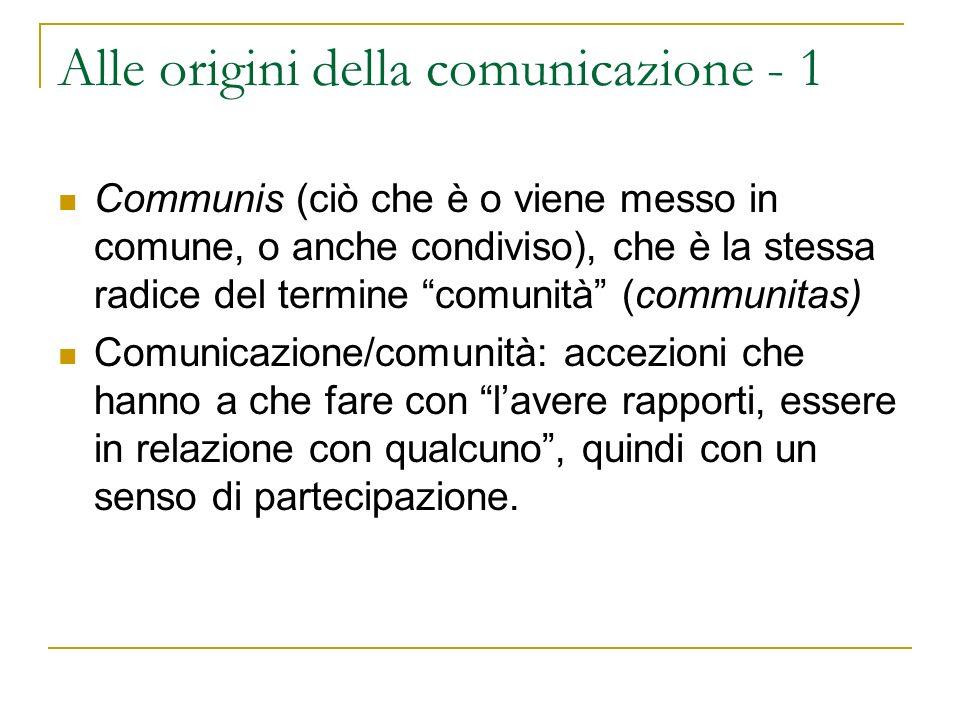 Alle origini della comunicazione - 2 Cum Munus (dono/obbligazione; superamento delle barriere, da moenia, mura) Ambivalenza della comunicazione come dono (onore) ed onere, e come superamento di barriere o confini