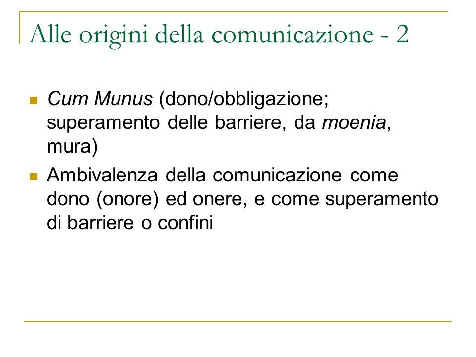 Definizione di comunicazione - 1 La comunicazione è quindi un atto di compartecipazione, in cui tutti i partecipanti condividono una stessa comune condizione e hanno, per così dire, obblighi e doni, oneri ed onori.