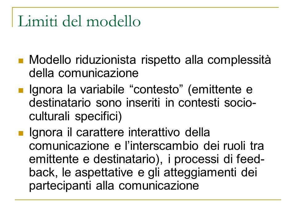 Il modello di Jakobson Utilizza i termini della teoria matematica della comunicazione per descrivere la comunicazione verbale Resta fondamentalmente unilineare (di fatto ipotizza comunicazione verbale come scambio di lettere tra mittente e ricevente) Il mittente invia un messaggio al destinatario.