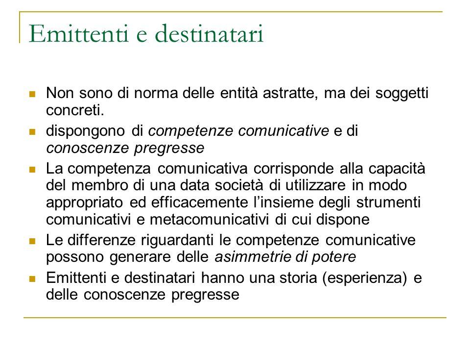 Ambiti di comunicazione: verso la comunicazione sociale Gli emittenti, coloro che comunicano producendo forme simboliche, possono essere attori di livello molto diverso: da singoli individui, a gruppi di individui fino ad organizzazioni o istituzioni.