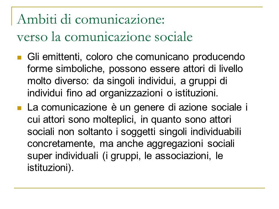 Ambiti di comunicazione: lo schema di Lasswell 5W: per analizzare un processo comunicativo occorre chiedersi: chi (who) comunica cosa (what) a chi (whom) usando quale canale (where) e con quali effetti (what effects).