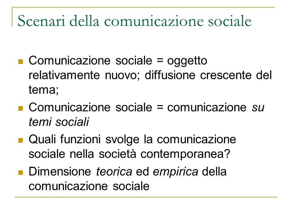Diffusione della comunicazione sociale Aumento degli attori in campo (nel settore pubblico, es.